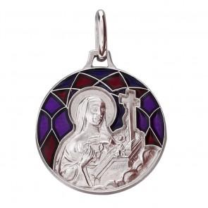 Médaille Emaillée Sainte Rita Rouge (Argent) Martineau