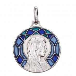 Médaille Emaillée Virgo Immaculata Bleue (Argent)