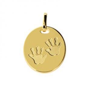 Médaille empreintes de mains (Or Jaune 9K)