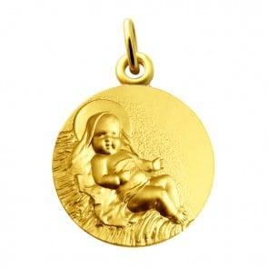 Médaille Enfant Jésus dans la crêche Martineau (or jaune)