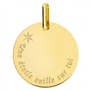 Pendentif jeton une étoile veille sur toi or jaune 18k