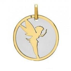 Medaille Fée Clochette (Or Jaune et Acier Gris)