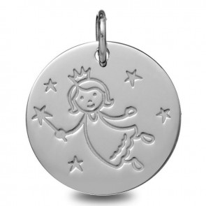 Médaille Fée Marraine (Or Blanc 9K)