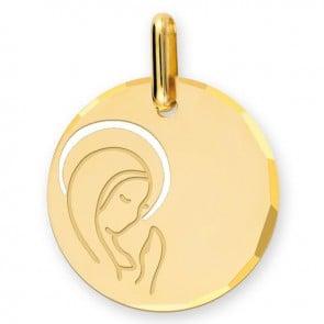 Médaille Vierge en prière auréolée ciselée (Or Jaune 9K)