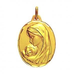 Médaille maternité profil gauche ciselée 16mm (Or Jaune)