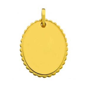 Pendentif Ovale en Dentelle (or jaune 9 carats)