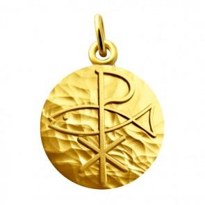 Médaille Symbole Pax avec Poisson (or jaune)