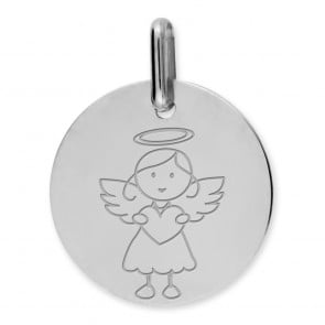 Medaille ange fille (Or Blanc)