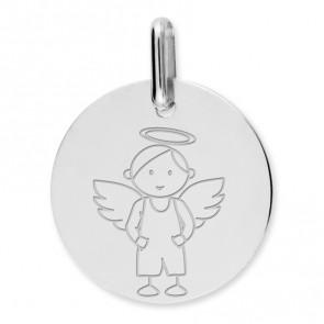 Médaille ange garçon (Or Blanc)