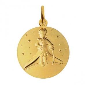 Medaille bapteme petit prince or blanc