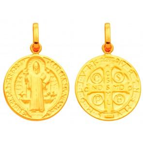 Médaille Saint Benoît réversible (Or Jaune)