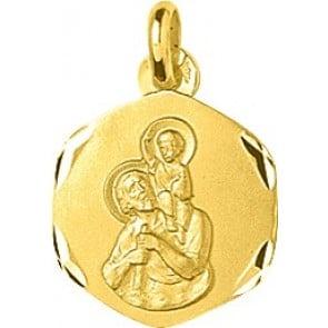 Médaille St Christophe bords lapidés (Or Jaune)