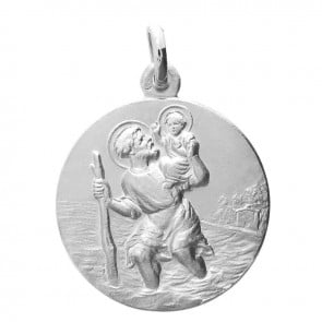 Médaille Saint-Christophe or blanc