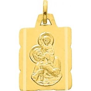 Médaille St Christophe Rectangle dentelée (Or Jaune)