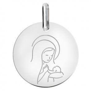 Médaille Vierge à l'Enfant Amour Maternel or blanc
