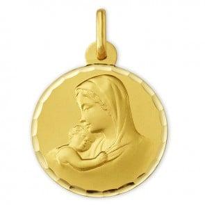 Médaille Vierge à l'enfant ciselée (Or Jaune 9k)