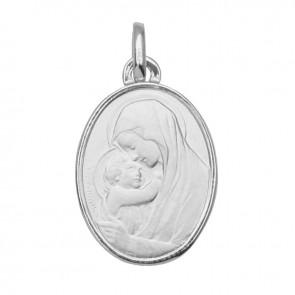 Médaille Vierge à l'enfant ovale bord polis en or blanc