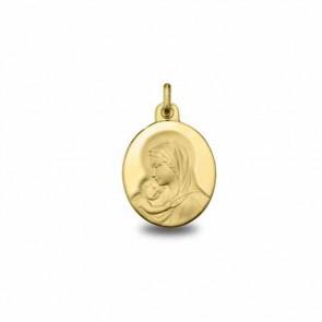 Médaille Madone à l'Enfant Ovale Or Jaune 18 carats