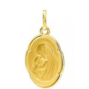 Médaille Vierge à l'Enfant Ovale (Or Jaune 9K)