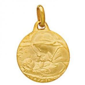 Médaille Vierge à l'enfant profil gauche (Or Jaune)