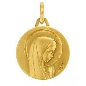 Médaille Vierge profil droit en prière ciselée (Or Jaune)