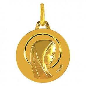 Médaille Augis Vierge profil droit ciselée (Or Jaune)