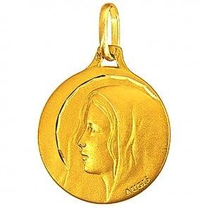 Médaille Augis Vierge profil gauche ciselée (Or Jaune)