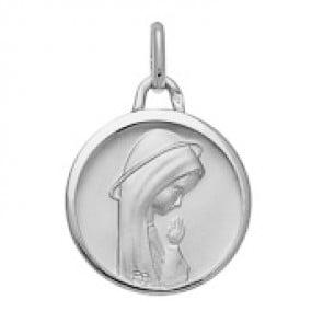 Médaille Vierge en prière auréolée Or Blanc