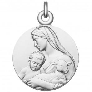 Médaille Vierge à L'Enfant et l'Agneau mystique en argent