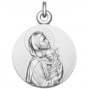 """Médaille Vierge à l'Enfant """"La Maternité"""" en argent"""