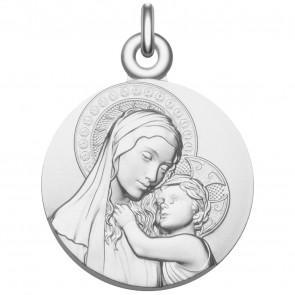 Médaille Vierge à l'enfant de Botticelli - Médaille de baptême en argent massif