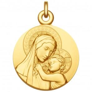 Médaille Vierge à l'enfant de Botticelli - Médaille de baptême Vermeil
