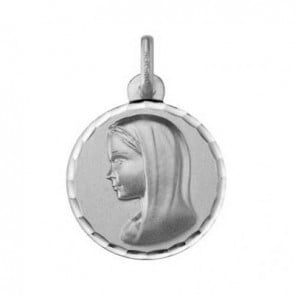 Médaille Vierge au voile ciselée (Or Blanc 9k) (Default)