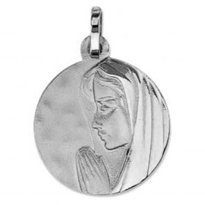 Médaille Vierge au Voile Brillant (Or Blanc)