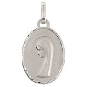 Médaille Vierge Ovale (Or Blanc)