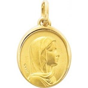Médaille Vierge à l'enfant bord polis (Or Jaune 9k)