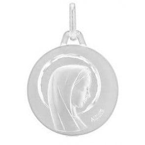 Médaille Augis Vierge profil droit ciselée (Or Blanc)