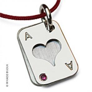 Pendentif Poker Coeur (Or Blanc)