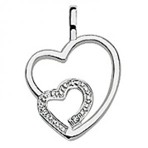 Pendentif 2 Cœurs Ajourés trois Diamants (Or Blanc)