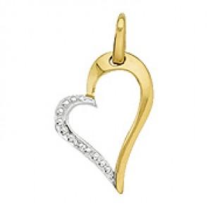 Pendentif Cœur Deux Ors avec Diamant (Or Jaune)
