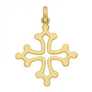 Pendentif Croix du Languedoc Fil Plat (Or Jaune)