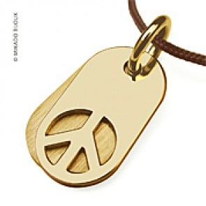 Pendentif Peace and Love - Woodstock (Or Jaune)