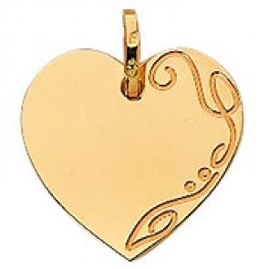 Pendentif Plaque Cœur avec Arabesque