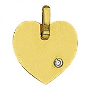 Pendentif Plaque Cœur avec Diamant (Or Jaune)