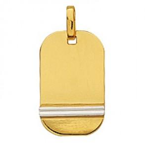 Pendentif Plaque Rectangle Deux Ors (Or jaune et Or blanc)