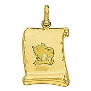 Pendentif Zodiaque Taureau Parchemin (Or Jaune)