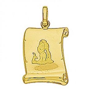 Pendentif Zodiaque Verseau Parchemin (Or Jaune)
