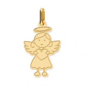 Pendentif ange fille (Or Jaune)