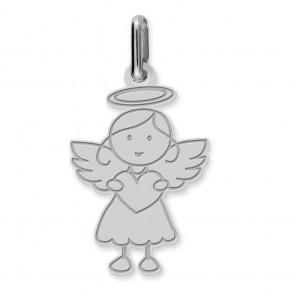 Pendentif ange fille (Or Blanc)