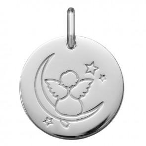Pendentif Ange Lune (Or Blanc 9K)